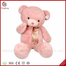 Valentine'S Day Gift Stuffed Bear Golden Bow Tie Pink Teddy Bear Toy Pink Plush Sitting Teddy Bear