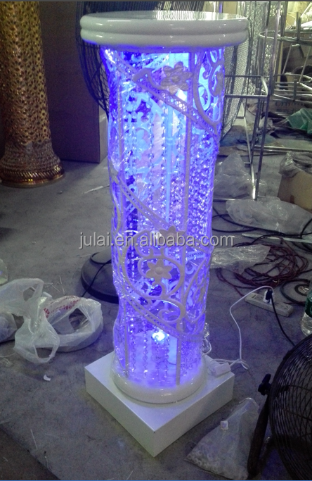 cheap white fiber glass wedding columns with colorful shinning light