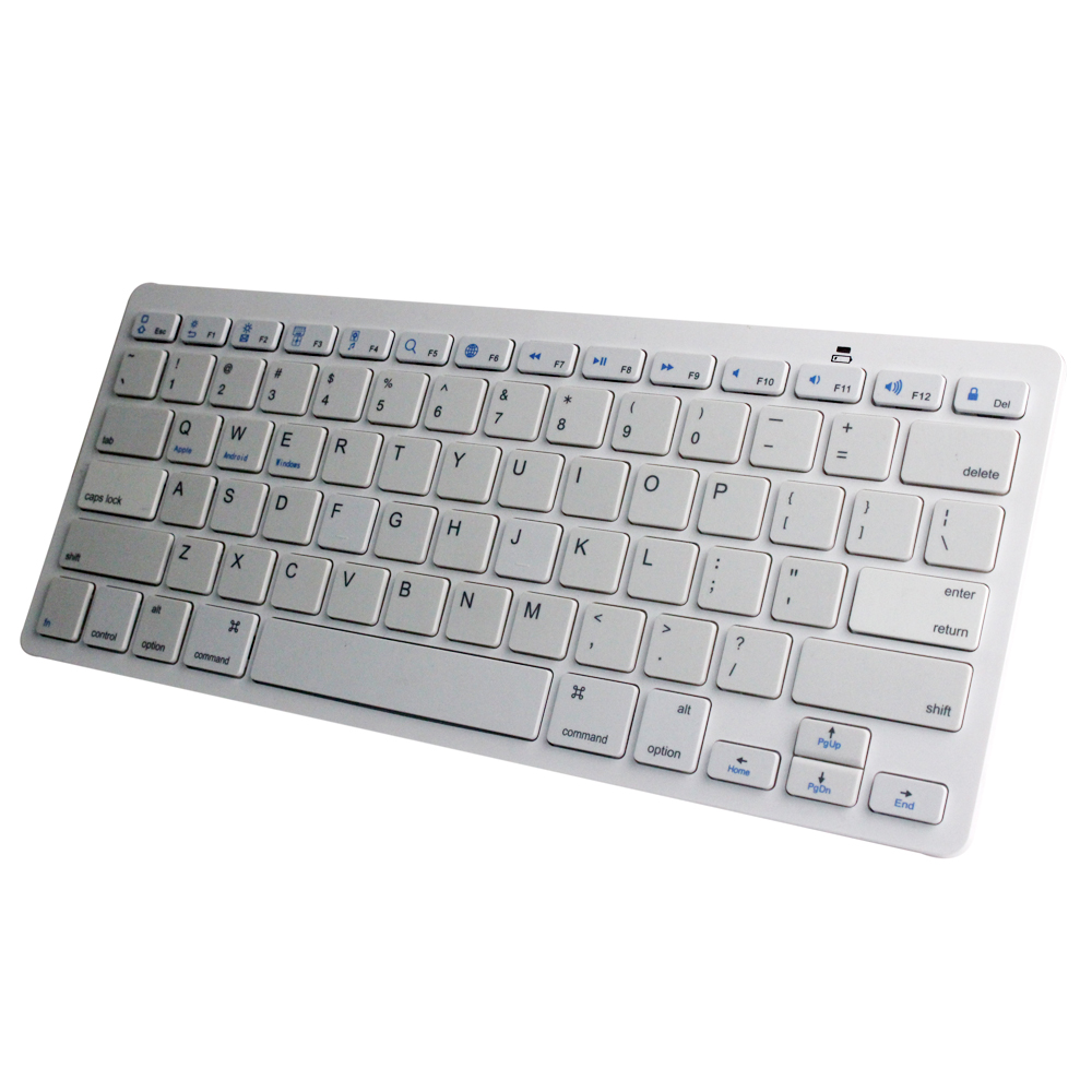Ultra thin Slim Bluetooth 3.0 Wireless Keyboard Keypad 2*7AAA battery white bluetooth keyboard for iPad /smartphone