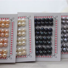 7-7.5mm natural genuine real one hole half drilled freshwater button shape loose pearls no holes
