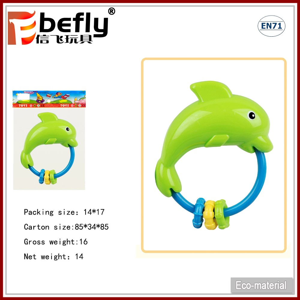 Cute dolphin shape baby rattle shaking plastic noise maker