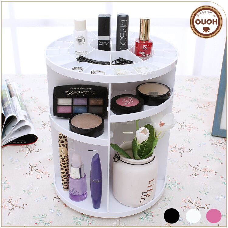 2016 New Wholesale White <strong>Plastic</strong> 360 degree Makeup Rotating Cosmetics Organizer