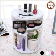 2016 New Wholesale White Plastic 360 degree Makeup Rotating Cosmetics Organizer
