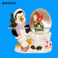 Penguin and Tree Stand Resin Snow Globe