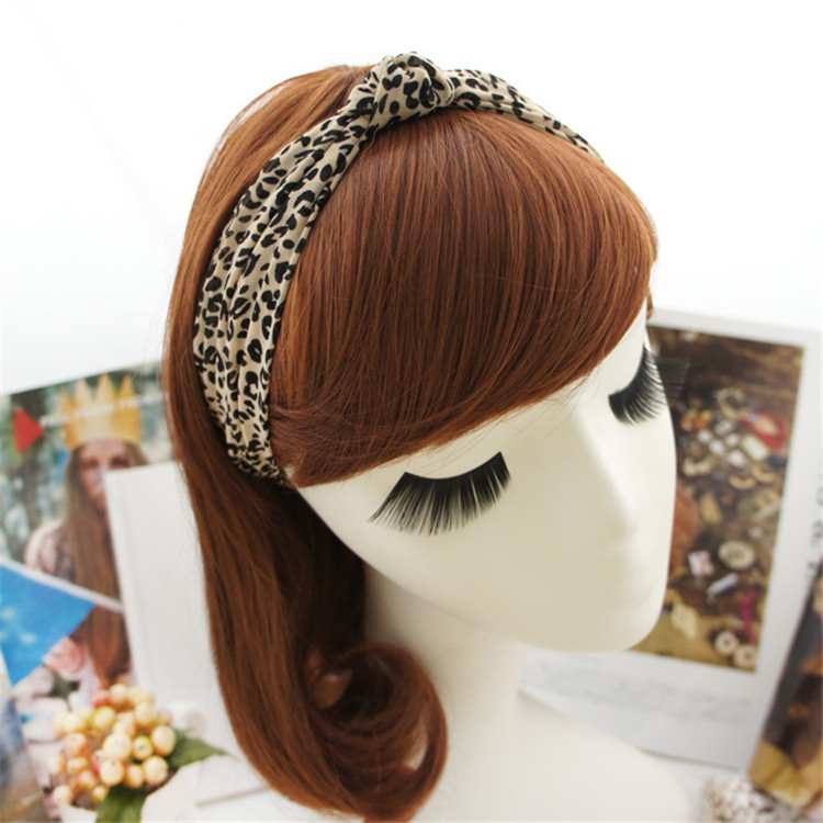 Factory direct sale leopard grain elastic knot turban twisted animal headband