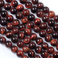 Natural Red round tiger eye loose beads gemstone for jewelry making