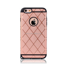 High quality and finre durability silicon+PC phone case for iphone 6 plus with grid form