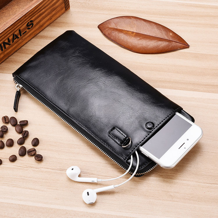 Naw Fashion Hot Selling Zipper Soft Leather Slim Men Long Purse Cell Phone <strong>Wallet</strong> With Mobile Phone Holder