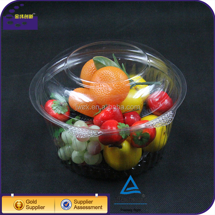 Food Grade PET Disposable Plastic Salad Bowl Container With Lid