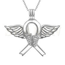 Bulk Wholesale 925 Sterling Silver Jewelry Angel Wing Feet Pearl Cage Pendant