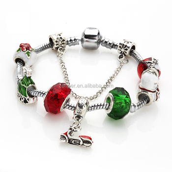 European Charm Pendant And Rhinestone Birthstone Beads For Large Hole Charm Bracelets