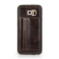 2015 pu leather brown back cover case for samsung s6