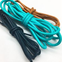 4mm round rope leather shoe laces,waxed cotton shoelace