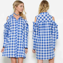 100% COTTON CHECKER WOVEN SHIRT DRESS Short Prom Dresses WITH COLD SHOULDER DETAIL