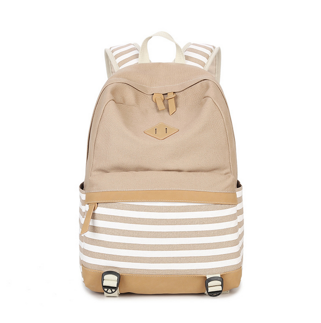 Fashion Cute Pig Nose Striped Women Canvas Backpack School Bags For Girl Teenager Casual Travel Foldable Light Backpack