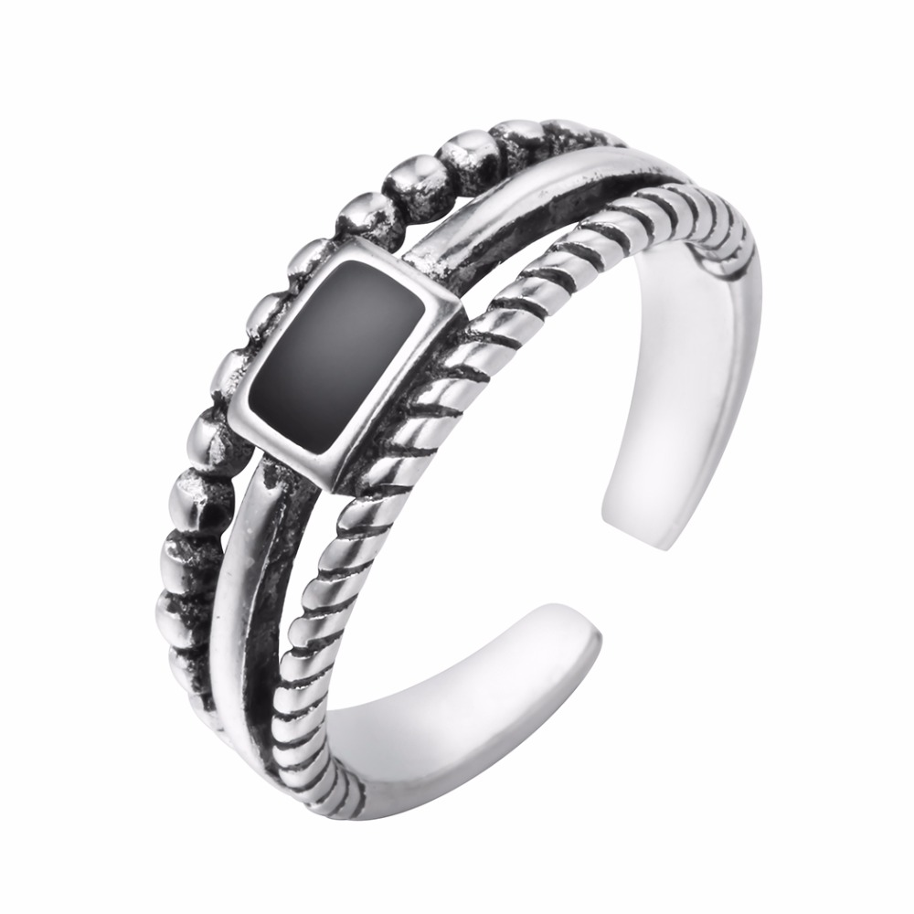 925 Silver Jewelry Women Men Vintage Black Rectangle Pendant Open Size Finger Ring Charm Open Multilayers Ring
