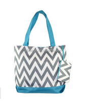 Reusable tote shopping bag with zipper and small pocket