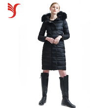 Custom Design Elegant Winter Hooded Coat Women Down Long Coat