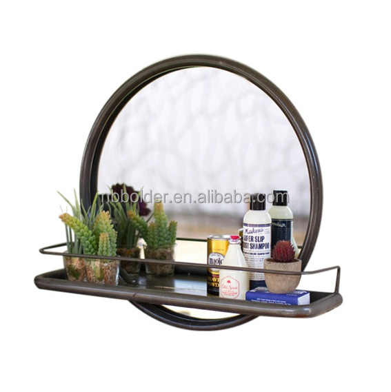 Wholesale Antique Porthole Entry Metal Wall Mirror With Iron Shelf