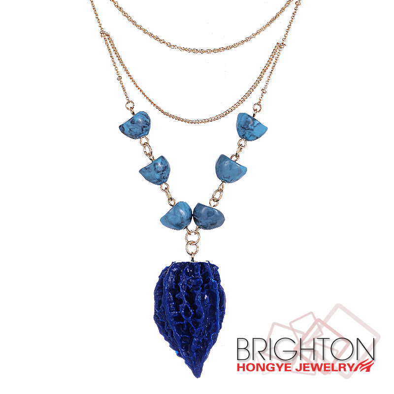 Fashion Blue Nut Pendant Necklace N3-6993-5300