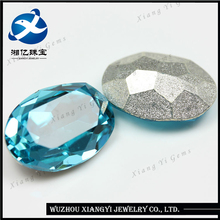 2017 Fashion Charm Special 12*16MM Machine Cut Oval Shape Electrosilvering Light Blue Crystal Glass Gemstones Diamonds for Jewel