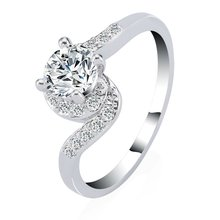2016 new design white gold plated AAA cz crystal ring for women Party Wedding Bridal Anniversary