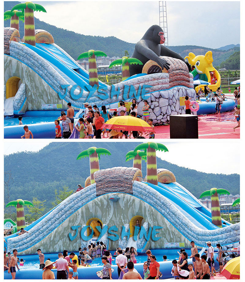 Sea World Water Pool Slide Parks Inflatable Bouncy Children Castle Combo Slides Aqua Playground Blow Up Water Park On Land