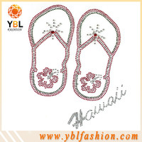 Clothing transfers wholesale rhinestone flip flops iron on motif
