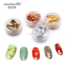Nail Art Gold Silver Paillette Flake Chip Foil 4 Color Design Nail Art Foil Stickers Decoration