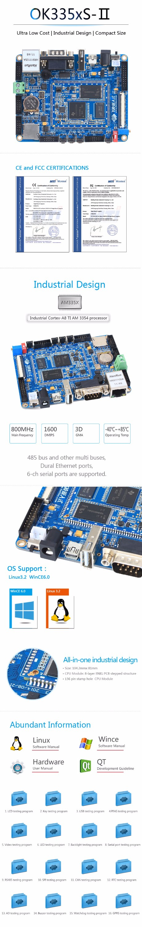 Low Price Industrial Grade ARM Linux Single Board Computer OK335xS-II Windows CE Development Board