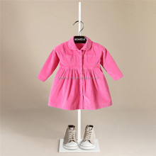 Winter warm corduroy girl pink picture of children casual dress