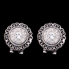 Jewelry auspicious clouds crystal round shaped stud jewelry indian clip on earrings