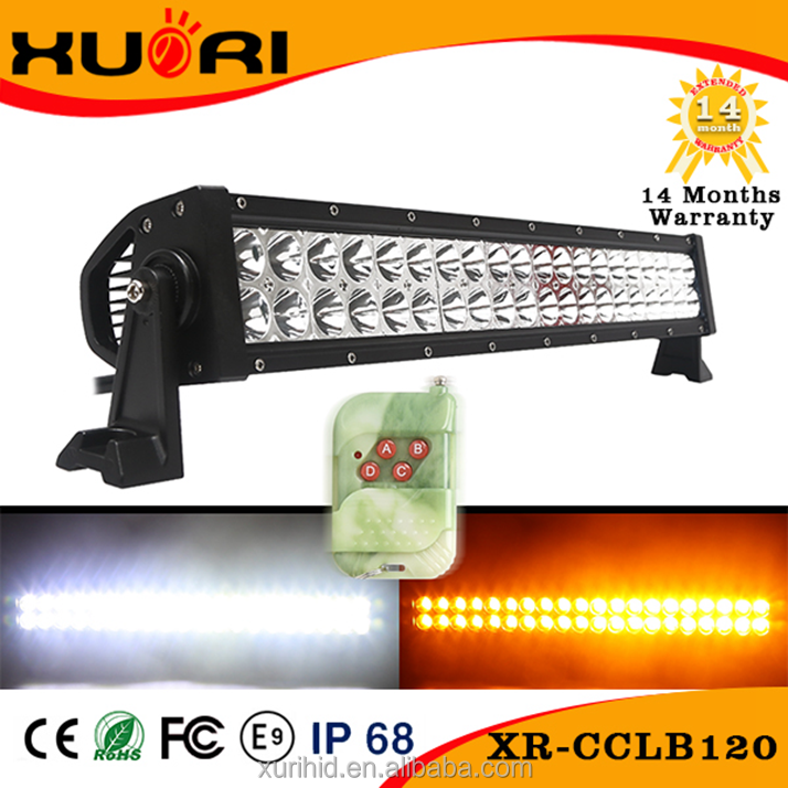 12Volt 120W Epistar White Amber Strobe Light Off road Led Light Bar with Wireless Remote Control