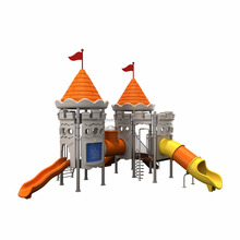 kindergarten outdoor playground equipment castle themed children plastic slide with fitness equipment and swing funtion