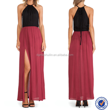 Red top with black two sides thigh splits maxi long thailand ladies fashion dresses with pictures