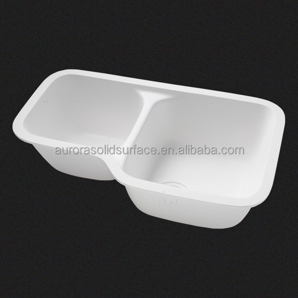 Modified Acrylic Snow White Color Sink Double Bowls Acrylic Wash Basin