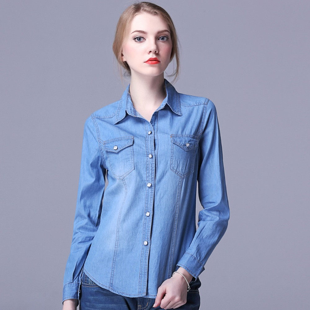 Wholesale New Design Classical Triple Collar Softtextile Denim Shirt For Girls