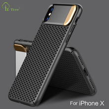 2017 NEW TOP quality Luxury PC matte mesh case for iPhone X with metal stand, Hollow hard shockproof cover case for iPhone X