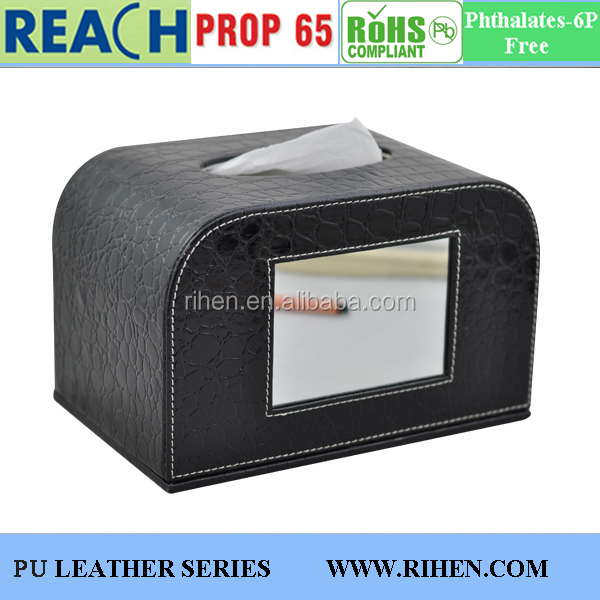multi-function leather tissue case mirror box