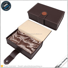 Brown PU Leather Wine Box Satin Lining 2 Grids