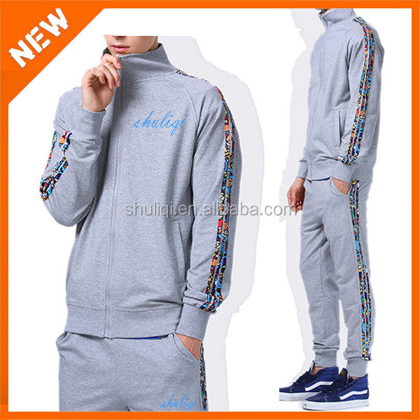Three vertical stripes 100% cotton brand cheap tracksuit mens sport trainning tracksuit made in China
