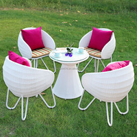 high quality PE rattan /wicker outdoor furniture white colour chairs