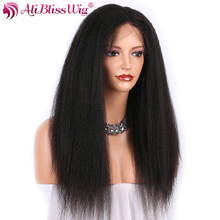 Ali Bliss Wig Brazilian Remy 100% Human Hair Natural Color Long Kinky Straight Silk Top Lace Front Wig Invisible Parting