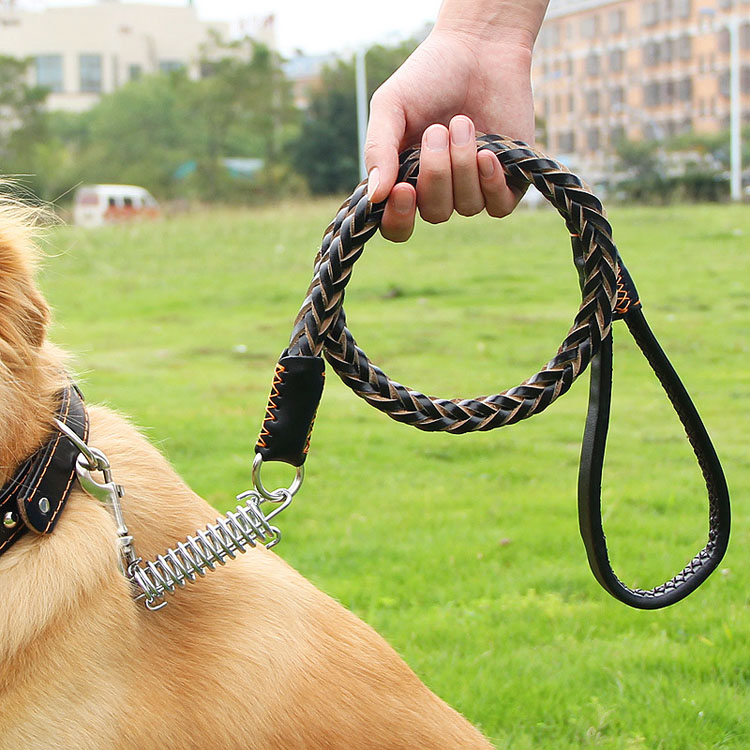 Real Leather Pet Walking Hook leash dog retractable leather dog collar