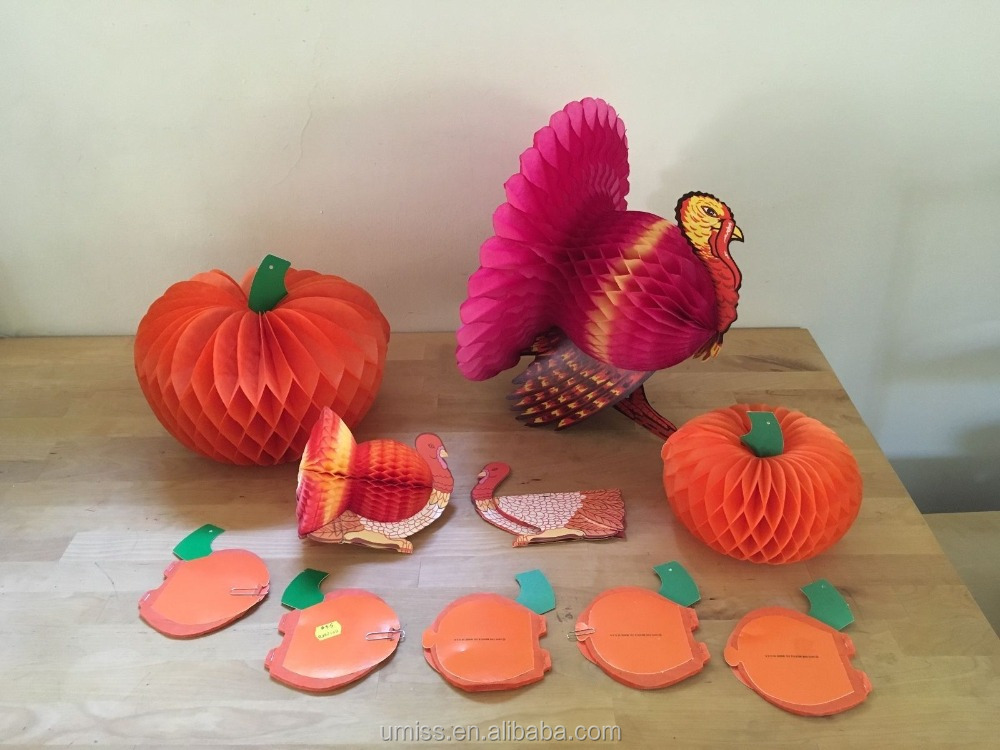 Umiss Set of 11pcs Thanksgiving Die Cut Paper Honeycomb Decorations 3 Turkey, 8 Pumpkins