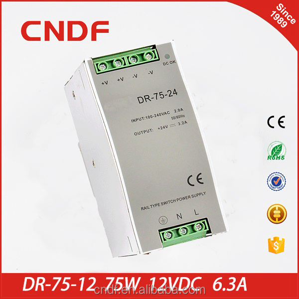 CNDF with high reliability working temperature up to -<strong>10</strong> - +60C 75w 24vdc 3.2amp din rail switch power supply