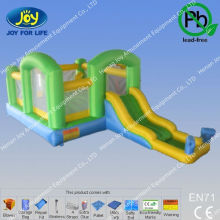 6*4m mini green long slide bouncers inflatables,2013 inflatable bounce house