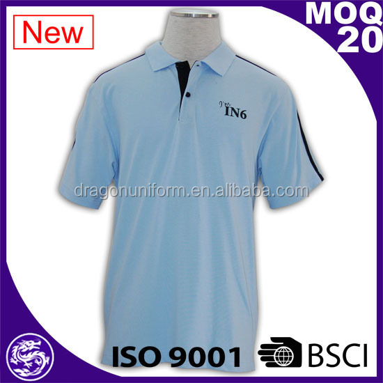 high quality Light Blue ribbed collar cheap custom branded office polo shirt