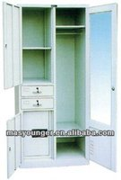 Funtional office/bedroom book/file storage cupboard cabinet steel furniture with mirror and chrome pipe