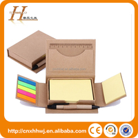 eco friendly Wholesale kraft paper sticky notes box with paper pen